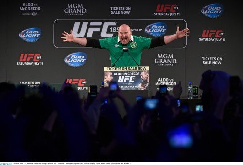 31 March 2015; UFC President Dana White during a fan event. The Convention Centre Dublin, Spencer Dock, North Wall Quay, Dublin. Picture credit: Ramsey Cardy / SPORTSFILE