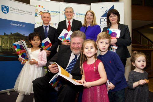 GROWING UP IN IRELAND TO PUBLISH NEW FINDINGS FROM NATIONAL STUDY OF 11,100 FIVE-YEAR-OLDS AND THEIR FAMILIES. Pictured at the Launch of Non-Parental Childcare and Child Cognitive Outcomes at Age Five. were: Ava Gao (Age 7), Minister's Address and Official Launch of Report: Dr James Reilly T.D., Minister for Children and Youth Affairs, Holly Coyle (Age 3), Callum Coyle (Age 6), and Millie Palmer (Age 2). Back row: Professor Alan Barrett (Director), Professor James Williams, Dr Helen Russell and Dr Aisling Murray (ESRI) You are cordially invited to the publication of a new report on the influence of non-parental childcare on the cognitive development of five-year-olds, based on almost 11,000 children and their parents. The findings will be launched by the Minister for Children and Youth Affairs, Dr James Reilly, T.D. on Thursday 3rd December. Non-Parental Childcare and Child Cognitive Outcomes at Age Five investigates the effects of childcare in early life on children's cognitive development (i.e. vocabulary and reasoning skills) at age five using a large representative sample of children (circa 9,000) from the Growing Up in Ireland study. At age three, prior to the Free Preschool Year, the main types of non-parental care are relative care (e.g. a grandparent), non-relative care (e.g. a childminder) and centre-based care (e.g. crèche). The report draws on information collected in the first three waves of the Growing Up in Ireland study. The new findings will be launched as part of Growing Up in Ireland's Annual Research Conference 2015. In addition to the new findings, a total of 22 research papers based on data from the study will be presented by researchers from a wide range of third level and research institutions. The research will focus on a range of topics including health, socio-emotional well-being, education and childcare. (See below for a full list of papers to be presented or log onto http://www.growingup.ie/index.php?id=282 for more details). A press rele