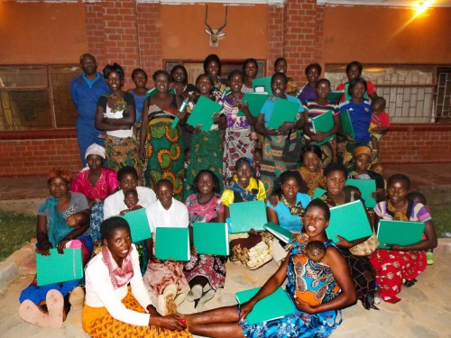 Smallholder Model Farmers in Chisalu with the agriculture cards they receive when they have completed their training