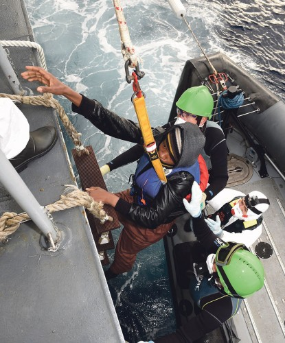 Irish naval vessel the LE SAMUEL BECKETT on a search and rescue operation last November off the Libyan coast during which it rescued 111 people (107 males and 4 females) frma sinking dinghy. Pic: Rollingnews.ie/Irish Department of Defence