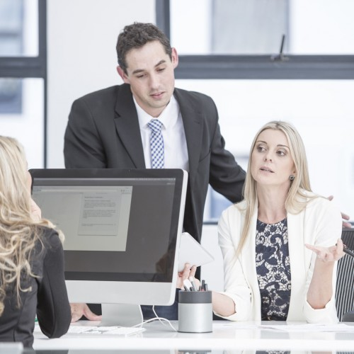 Mandatory Credit: Photo by REX Shutterstock (4953768a) MODEL RELEASED Businesspeople having a meeting in office VARIOUS