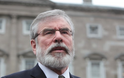 22/03/2016 Sinn Fein. Pictured is Sinn Fein party leader Gerry Adams TD on the plinth at Leinster House in Dublin as he made comments ahead of the Dail sitting. Photo:RollingNews.ie