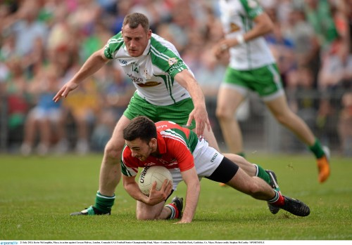 21 July 2013; Kevin McLoughlin, Mayo, in action against Lorcan Mulvey, London. Connacht GAA Football Senior Championship Final, Mayo v London, Elverys MacHale Park, Castlebar, Co. Mayo. Picture credit: Stephen McCarthy / SPORTSFILE