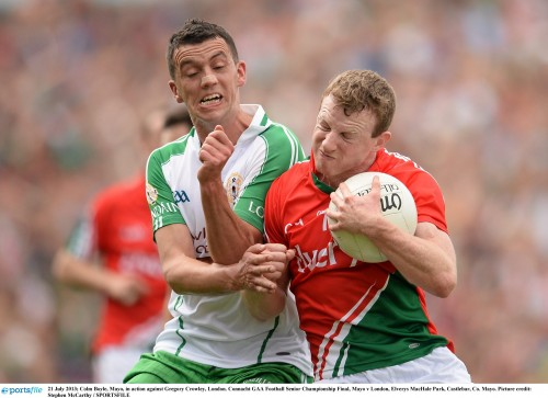 21 July 2013; Colm Boyle, Mayo, in action against Gregory Crowley, London. Connacht GAA Football Senior Championship Final, Mayo v London, Elverys MacHale Park, Castlebar, Co. Mayo. Picture credit: Stephen McCarthy / SPORTSFILE