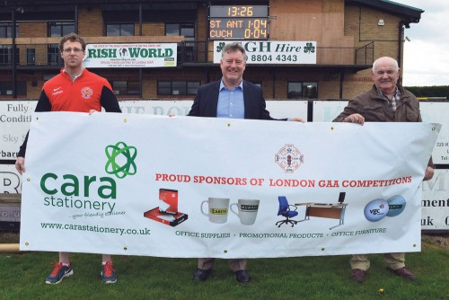 London GAA unveiled new cup competitions sponsor on Sunday as Gerry Keaney of Cara Stationery attended Ruislip.