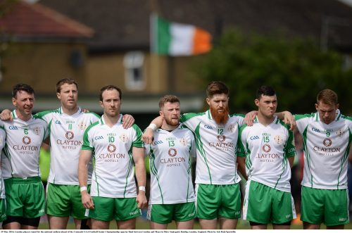 29 May 2016; London players stand for the national anthem ahead of the Connacht GAA Football Senior Championship quarter-final between London and Mayo in Páirc Smárgaid, Ruislip, London, England. Photo by Seb Daly/Sportsfile