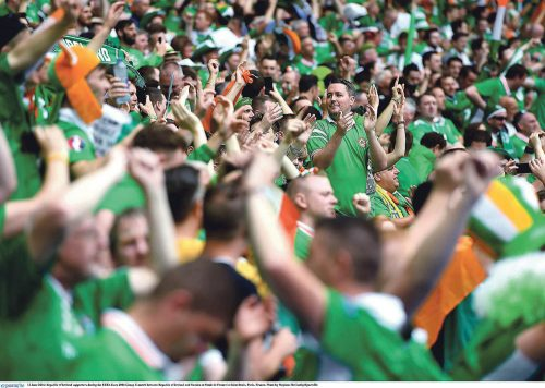 13 June 2016; Republic of Ireland supporters during the UEFA Euro 2016 Group E match between Republic of Ireland and Sweden at Stade de France in Saint Denis, Paris, France. Photo by Stephen McCarthy/Sportsfile