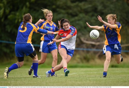 9 August 2016; Vivienne McCormack of New York Irish in action against, from left, Helen Stephens, Aine Gormley and Patricia Marmion of Britain Parnells during the Etihad Airways GAA World Games 2016 - Day 1 at UCD in Dublin. Photo by Cody Glenn/Sportsfile