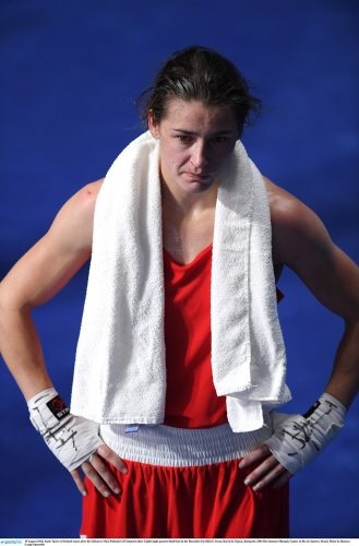 15 August 2016; Katie Taylor of Ireland reacts after her defeat to Mira Potkonen of Finland in their Lightweight quarter-final bout in the Riocentro Pavillion 6 Arena, Barra da Tijuca, during the 2016 Rio Summer Olympic Games in Rio de Janeiro, Brazil. Photo by Ramsey Cardy/Sportsfile
