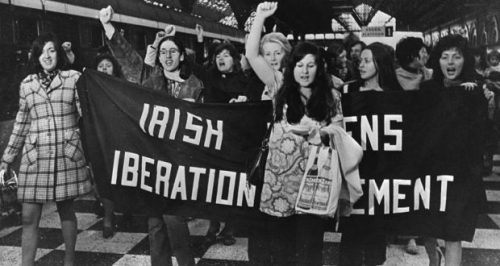 Activists on the platform of Connolly Station, Dublin in 1971 prior to boarding the Belfast Train to buy contraceptives. Photograph: The Irish Times