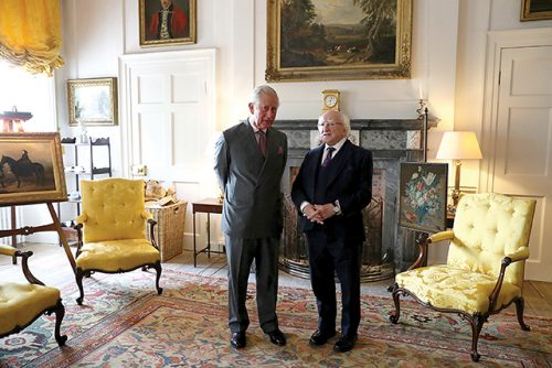 The Prince of Wales, (the Duke of Rothesay when in Scotland), with the President of Ireland Michael D Higgins in the Yellow Room at Dumfries House in East Ayrshire last week. Both are to be patrons of the Institute of Irish Studies at the University of Liverpool
