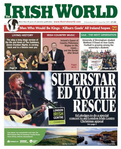 Ed Sheeran concert London Irish Centre Christmas appeal