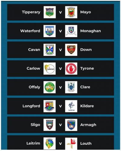 Senior Football Champions Round two Qualifier Draw