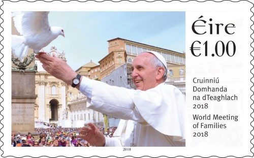Stamp focus family gathering Popes visit