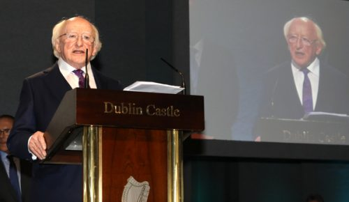 michael d higgins at dublin castle following his victory