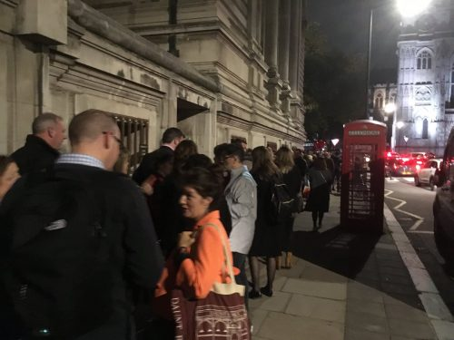 Queues outside the Methodist Central Hall on the night