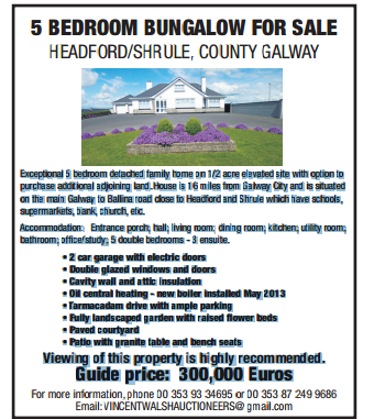 County Galway - 5 bedroom bungalow for sale