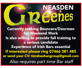 Recruitment: Greenes Bar, Neasden