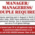Manager/Manageress Couple Required