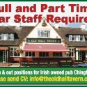 Full and Part Time Bar Staff Required