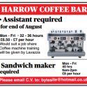 Harrow: Coffee bar assistant required