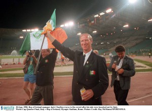 Waving to the crowd after getting knocked out by Italy in 1990
