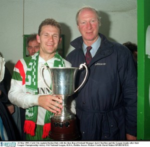 With Cork City captain Declan Daly in 1993