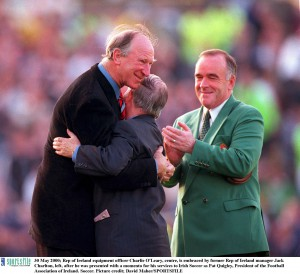 Accepting award for services to Irish soccer in 2000