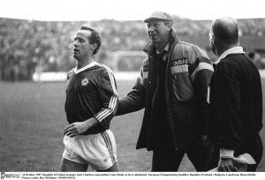 Congratulating Liam Brady in 1987